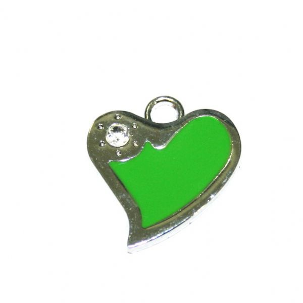 1 x 21*19mm rhodium plated green curved heart enamel charm with rhinestone - SD03 - CHE1267